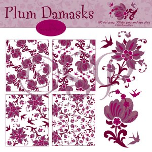 Plum Damask Patterns