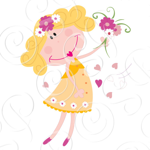 Cute New Flower Girls Clipart